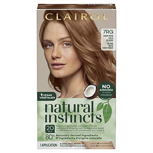 Clairol Natural Instincts Semi-Permanent Hair Color, 7RG Dark Rose Gold Blonde, 1 Count
