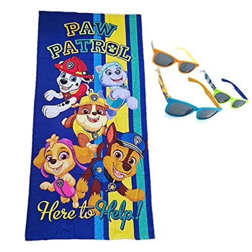Toalla Playa Piscina niño niña Patrulla Canina con 1 Gafas de Sol Niño Niña (Color Aleatorio)
