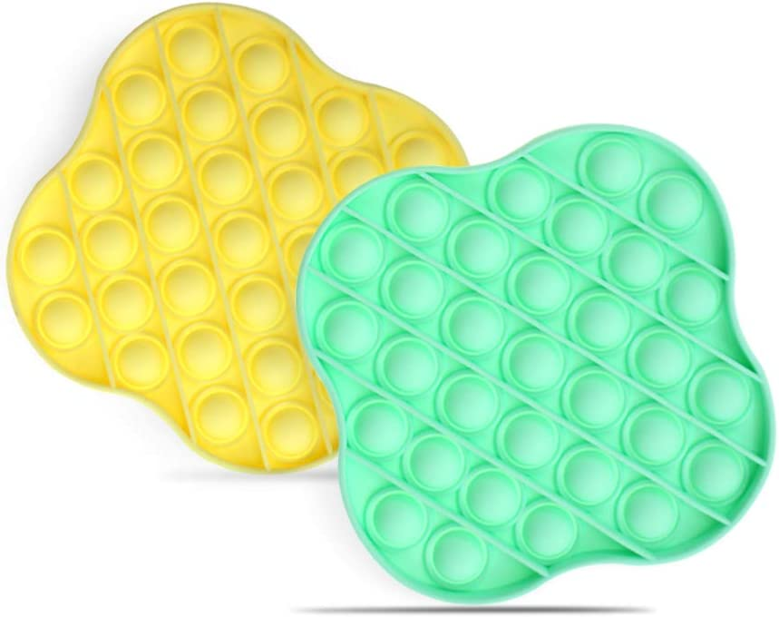 Silicone Squeeze Sensory Toy for Kids and Adults 2Pcs Blue+Yellow Push Pop Bubble Fidget Sensory Toy Stress Reliever Toy for Autism Special Needs