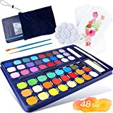 9 Different Water Colors Paint Box: - The set contains 48 Premium Colors, 1 Drawing Sketching Pencil, 1 water tank brushes, 3 hook line pen, 1 Palette, 1 water absorbent sponge, 8 watercolor papers, 1 white watercolor paint, 1 metal case. Can be used...