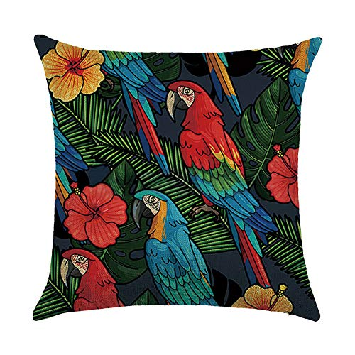 WeiMay. Funda de cojín con Estampado de papagayo, Decorativa, para sofá, Transpirable, de 45 cm x 45 cm, de algodón y Lino