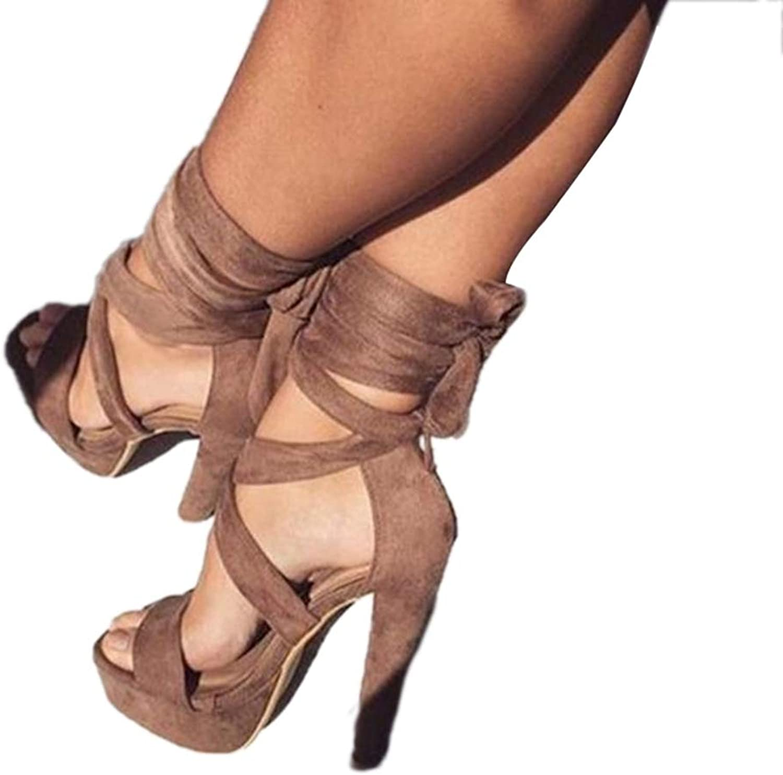 Ladies Beauty Heeled Sandals Platform High Heels Cross Straps Suede shoes Sandal