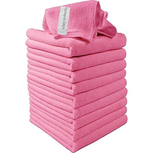 Clay Roberts Mikrofasertücher, 10 Stück, Rosa, Mikrofaser Reinigungstücher für Küchen, Häuser und Autos