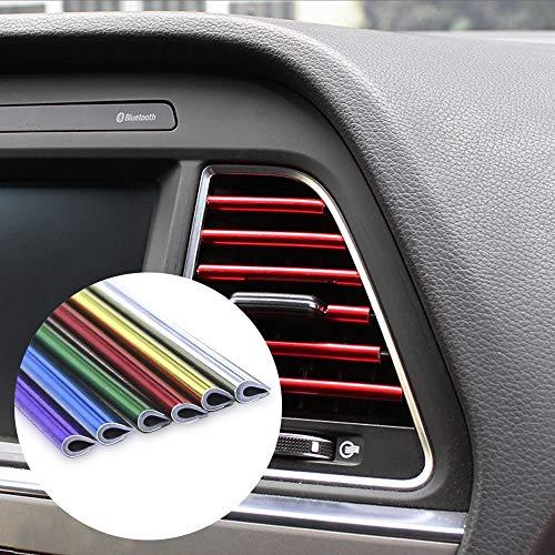 XIONGHAIZI 10pcs Car-Styling platear Aire de Salida moldura Interior de Aire de la Rejilla del conmutador de aro de Ajuste Outlet Tira de decoración de Bricolaje del automóvil (Color Name : Purple)