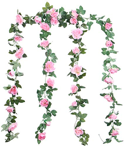 Lawei 2.4m Artificial Rose Vine Garland Silk Hanging Roses Fake Flowers String Artificial Plants Indoor Outdoor Decor, Pack of 2 (Pink)
