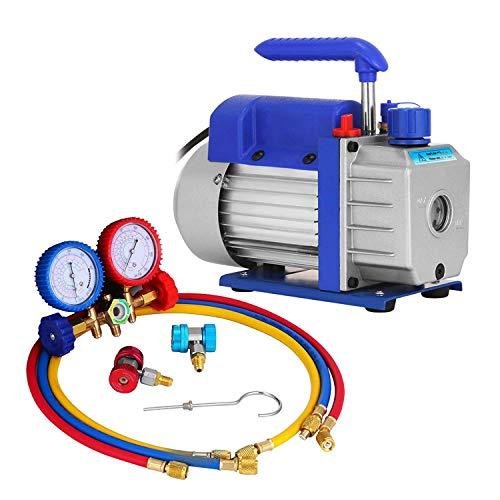HODOY 1.8CFM 1 / 4HP Kit pompa per vuoto refrigerante HVAC Pompa per vuoto monostadio con manifold Manometri Aria condizionata 50 l/min 1440 RPM per tutti i refrigeranti (1.8 CFM 1/4HP)