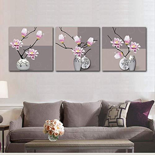 HTRHUA canvas schilderij afbeelding retro magnolia vaas decoratie schilderij op canvas 3 panel magnolia poster muurkunst pictur 60x60cm Framed