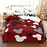 Trduast Full Size Bedding Set for Boys Girls 3D Mickey Mouse Love Minnie Red Duvet Cover Set Soft Microfiber Quilt Cover Bedspread 3 Pieces