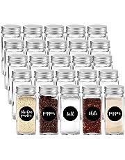 GoMaihe Kruidenpotten 25 Set, Transparante opbergpotten met Deksels/Mason Potten/Glazen Potjes, voor Handige en Praktische opslag van specerijen