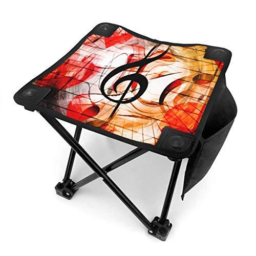 Florasun Taburete plegable para camping, diseño de corazones, notas musicales, claves de música, silla portátil, camping, caza, pesca, viajes, con bolsa de transporte