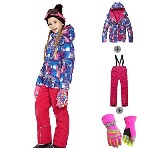 Meisjes Jongens Warm Sneeuwpak en Handschoenen Waterdichte Winddichte Snowboarden Jassen en Sneeuw Ski Bib Broek
