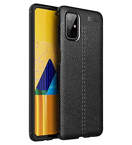 Golden Sand Cover Leather Texture Series Shockproof Armor TPU Back Cover Case for Samsung Galaxy M51 Mobile Phone, Lightning Black