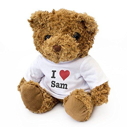 Oso de Peluche con Texto en inglés I Love Sam, Bonito y Acogedor, Regalo de cumpleaños, Navidad, San Valentín