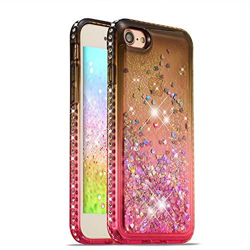 HMTECH iPhone SE / 5S Funda Bling Glitter Rosa Gris Líquido Silicona Suave TPU Gel Bumper Transparente Amortiguación Case para iPhone SE/iPhone 5 5S,Gray Pink Liquid TPU