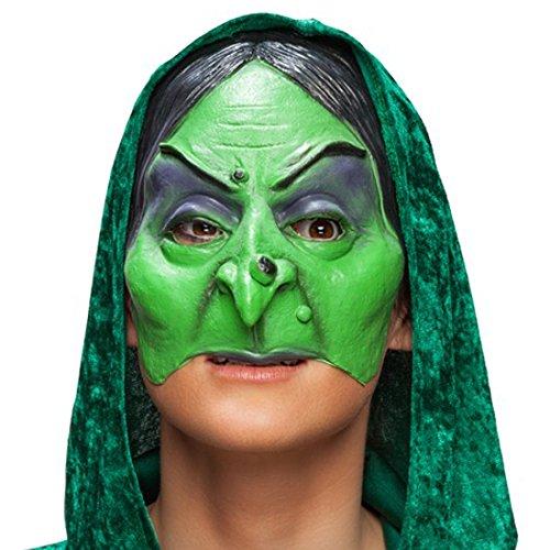 Amakando Halbmaske Hexe - grün - kinnlose Maske Furie Karnevalsmaske Weibsstück Larve böse Fee Faschingsmaske Zauberin Fiese Hexenmaske