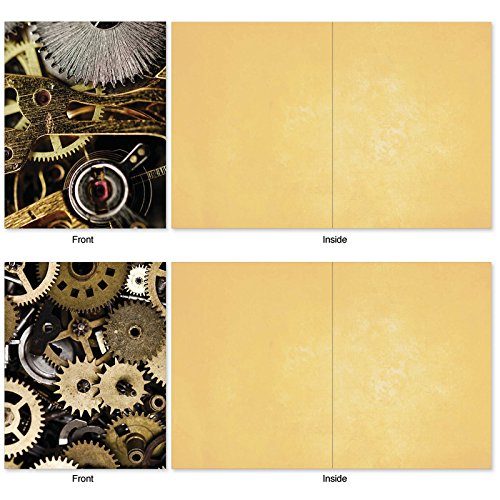 The Best Card Company, Gearing Up - 10 Assorted Blank Notecard Set (4 x 5.12 Inch) - Boxed, All Occasion Cards with Gears, Crank (Not Foil) M2014 Photo #5