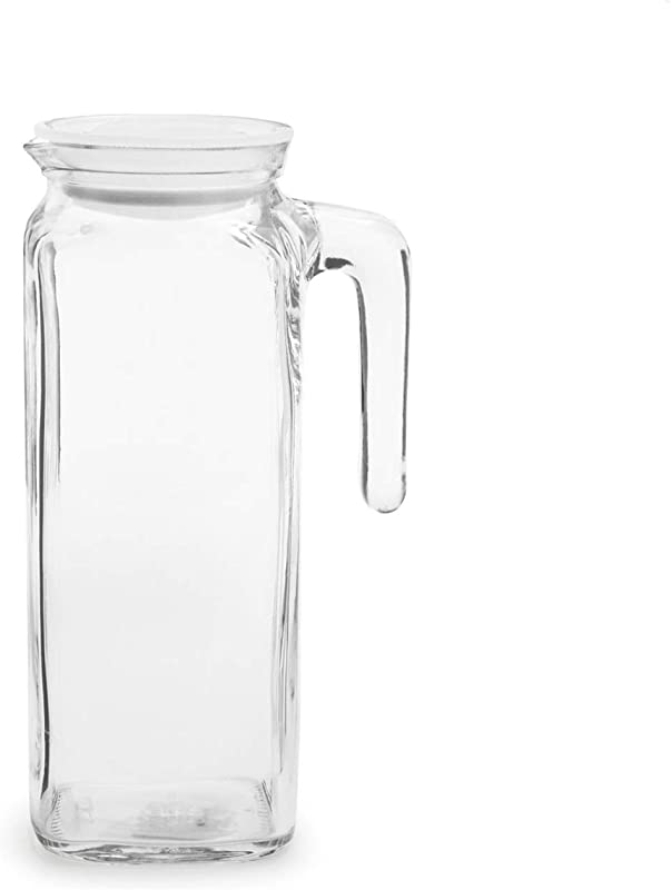 Bormioli Rocco Glass Frigoverre Jug With Airtight Lid 1 Liter Clear Pitcher With Hermetic Sealing Easy Pour Spout Handle For Water Juice Iced Coffee Iced Tea