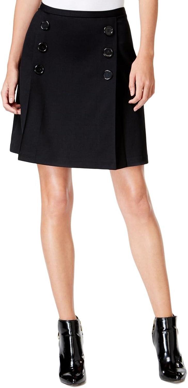 Maison Jules Womens Button Front Above Knee ALine Skirt Black L