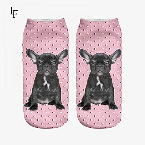 FHCGWZ 5psc/Set Nuevo 3D Imprimir Lindo Bulldog Calcetines Mujeres Low Cut...