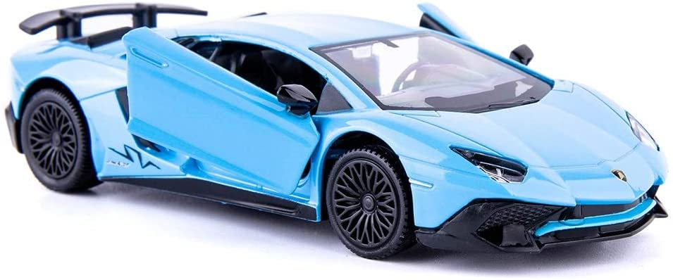 TGRCM-CZ 1/36 Scale Aventador LP700-4 Casting Car Model, Zinc Alloy Toy Car for Kids, Pull Back Vehicles Toy Car for Toddlers Kids Boys Girls Gift (Blue)