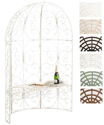 CLP Padiglione Giardino con Panca Rosie I Gazebo Padiglione in Ferro I Pergola A Semiluna Portata Max 200 kg, Colore:Antico-Crema