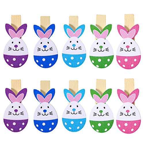 PRETYZOOM 10pcs Mixed Colored Rabbit Wooden Pegs Memo Photo Clips Easter Hanging Decoration Craft Clips for Easter Party Decoration Supplies