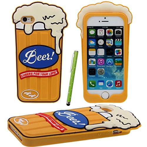 iPhone SE Copertura Protettiva, Interessante Bella 3D Giallo Tazza di Birra Forma Design Morbido Silicone Plastica Custodia per Apple iPhone 5 5S 5C SE con 1 Penna dello Stilo