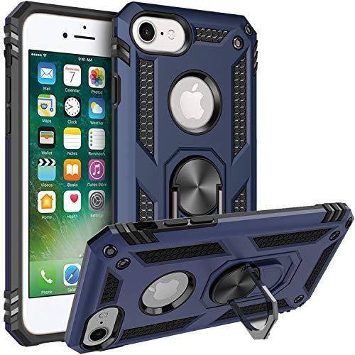 FETRIM Coque pour iPhone 7, Étui Antichoc Cover Anti Housse avec Bague Rotatif Support pour Apple iPhone 6/6S/7/8 Bleu Marin