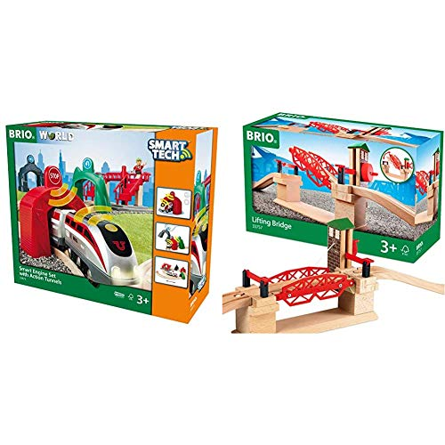 BRIO World - 33873 Smart Tech Engine Set with Action Tunnels | 17 Piece Train Toy with Accessories and Wooden Tracks & Lifting Bridge | Toy Train Accessory with Wooden Track for Kids Age 3 and Up