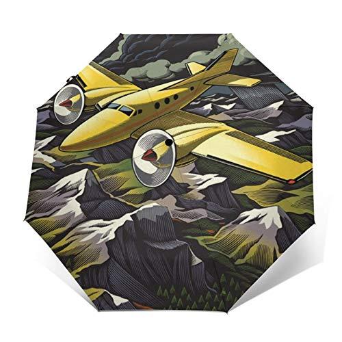 TISAGUER Paraguas automático de Apertura/Cierre,Cartel Retro,avión Amarillo se eleva sobre Las montañas,Paraguas pequeño Plegable a Prueba de Viento