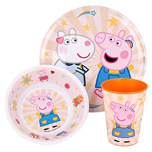 Peppa Pig | Set Vajilla de Melamina Infantil - Resistente I Servicio de Mesa Libre de BPA para niños y bebés - 3 Piezas: Vaso de Beber, Plato y Cuenco