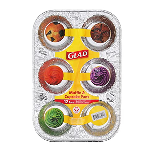 Glad Disposable Bakeware Aluminum 6 Cup Muffin and Cupcake Tins for Baking , 12 Count - Standard Size Cupcake Tins 10' x 6.75' x 1.25'| Made from Recyclable Aluminum