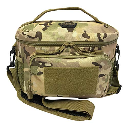 HSD Lunch Bag, Leakproof, Insulated Cooler, Thermal Lunch Box Tote with MOLLE / PALS Webbing, Adjustable Padded Shoulder Strap, for Tactical Men Women Adults and Boys Girls Kids (Multicam)