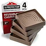 Furniture Cups X-PROTECTOR – 2' Caster Cups 4 PCS – Premium Furniture Coasters – Ideal Bed Stoppers – Non Skid Furniture Pads with a Perfect Design – Rubber Furniture Pads - Protect Any Flooring!