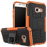 Jardire Compatible Coque Samsung A5 2017 - Orange, 360 Degrés Protection Coque Ultra Fine Bumper Housse Étui Cover pour Silicone Back Cover [Verre Trempé A5 2017 Samsung]
