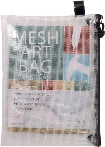 PRO ART Mesh Vinyl Zipper Bag, 10-inch x 13-inch, Transluscent