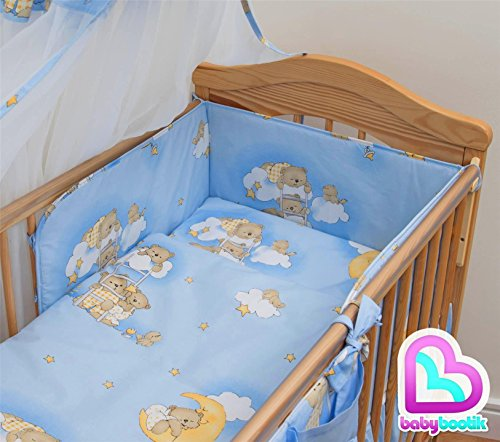 3 piece Baby Bedding Set with Pattern, Safety Bumper for 120 x 60 Bed - Pattern 4