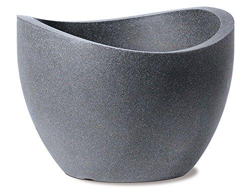 Scheurich Wave Globe, Pflanzgefäß aus Kunststoff, Schwarz-Granit, 60 cm Durchmesser, 44,5 cm hoch, 68 l Vol.