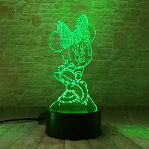 Cartoon Glowing Girls Mickey Minnie Mice Mouse 3D Led Night Light 7 Color Change Table Lamp Bedroom Decor Xmas Gifts Kids Toys