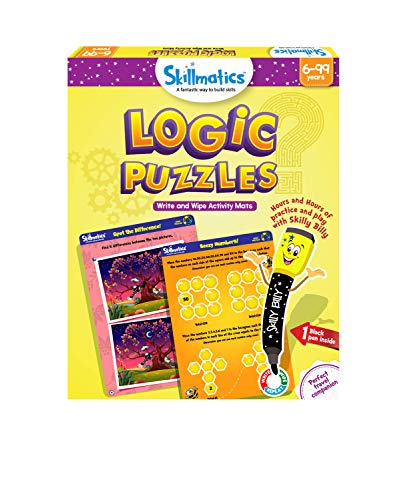 Skillmatics Educational Game: Logic Puzzles (6-99 Years), Erasable and Reusable Activity Mats, Gifts for Boys and Girls 6, 7, 8, 9, Years and Up, Travel Fri...