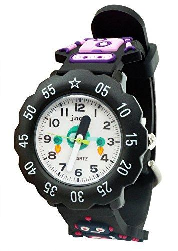 JNEW - Reloj Analógico de Cuarzo para Niños con Dibujo de Robot Reloj de Pulsera Infantil Impermeable Aprender la Hora Watch - 3-10 Años - Negro - con Caja