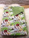 kuschelige Babydecke Kuscheldecke Wagendecke Baby-Decke Bauernhof unisex Kühe Tiere handmade