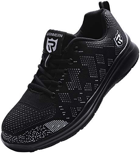 Zapatos de Seguridad para Unisex, S3 SRC Anti-Piercing Zapatillas de Trabajo con Puntera de Acero Zapatos de Industria y Construcción (Negro 42.5 EU)
