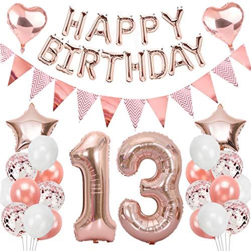 Ouceanwin Palloncini 13 Anni Compleanno Oro Rosa, Giganti Numero 13 Palloncini Foil, Palloncini Happy Birthday Ghirlanda, Banner di Gagliardetto, Festa di Compleanno Kit Decorazioni per Ragazze