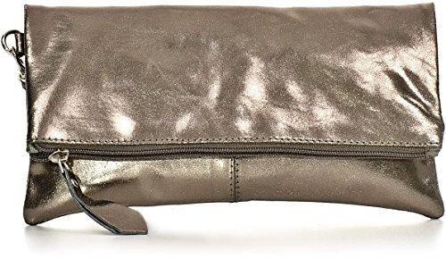 CNTMP, Damen Handtaschen, Clutch, Clutches, Clutchbags, Unterarmtaschen, Partybags, Trend-Bags, Metallic, Leder Tasche, 25x13x2,5cm (B x H x T), Farbe:Anthrazit