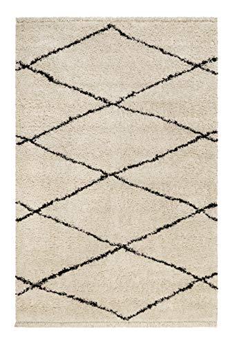 Wecon home, Moderner Hochflor Teppich - Läufer im Berber Style für Wohnzimmer, Flur, Schlafzimmer Studio one (80 x 300 cm, Creme beige)