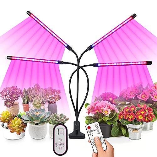 Joomer Pflanzenlampe LED,Pflanzenlicht, 4 Heads 360°Einstellbar Grow Lampe für Zimmerpflanzen pflanzenlampe led mit zeitschaltuhr,3 Arten von Modus,10 Helligkeitsstufen