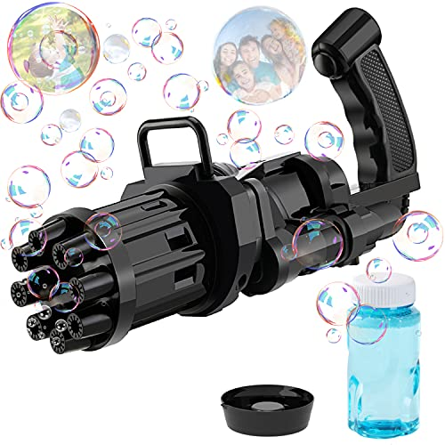 DR CATCH Bubble Machine 2021 Bubble Machine 8-Hole Huge Amount Bubble Maker as Excellent Summer Gifts for Outdoor Toys for Boys and Girls(Black)
