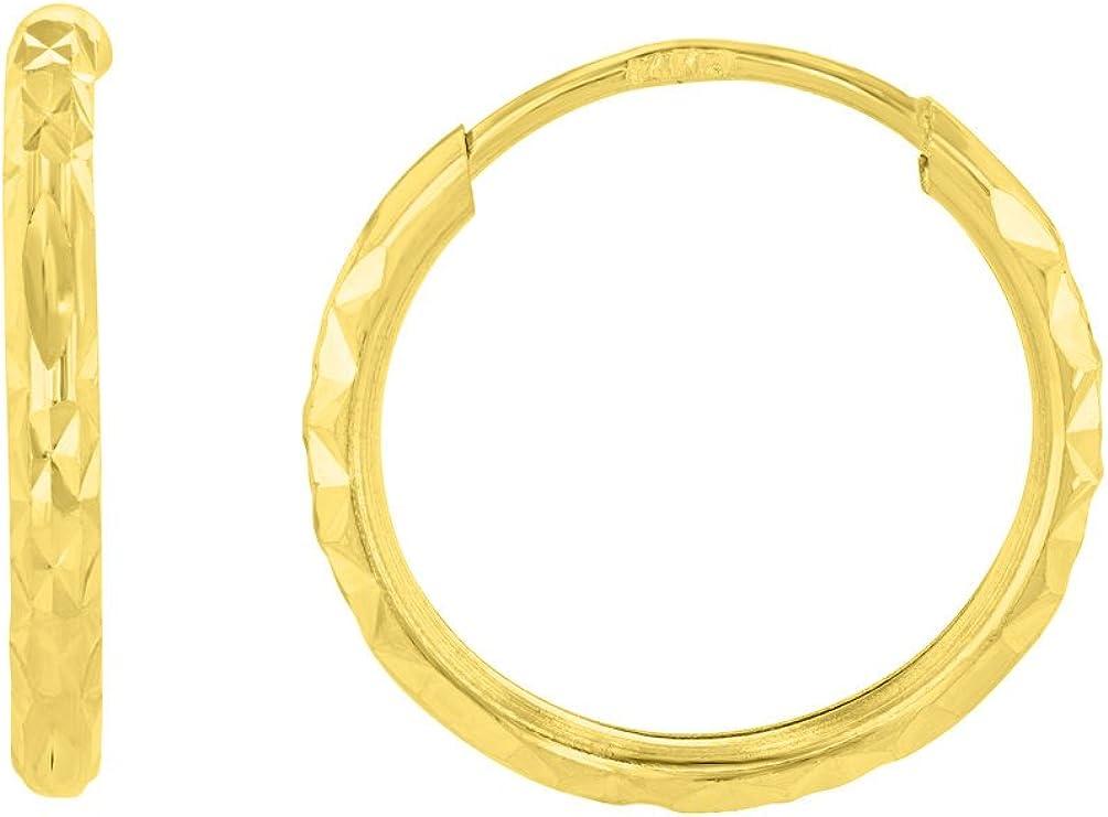 14k Yellow Gold 1.5mm Textured Endless Hoop Earrings (15 x 15.5mm)