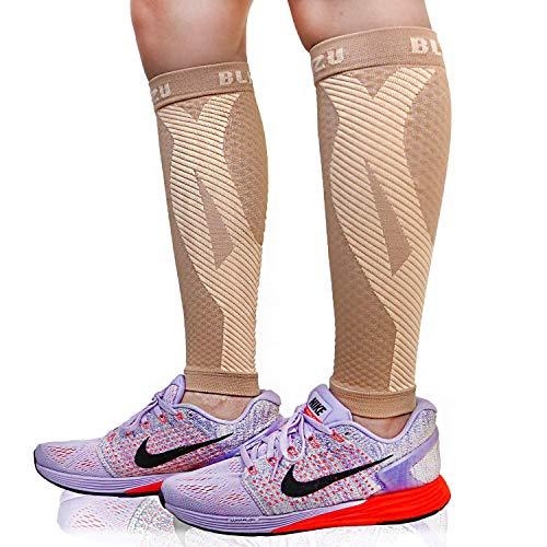 Blitzu Calcetines de compresión para pantorrilla para mujeres y hombres, calcetines de compresión de pierna para corredores, espinilla, recuperación de lesiones y alivio del dolor, ideal para correr, maternidad, viajes, enfermeras, desnudos S-M